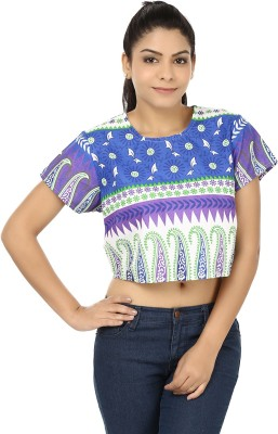 Modimania Casual Short Sleeve Printed Women's Blue, White Top