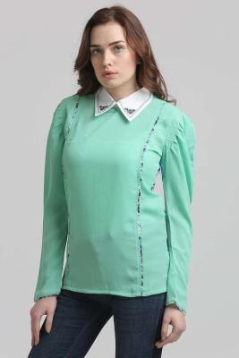 Moda Elementi Casual Full Sleeve Printed Women's Green Top
