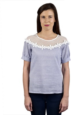 Saffora Fashion Casual Short Sleeve Solid Women's Blue Top