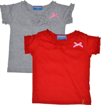 Clever Casual Short Sleeve Solid Girl's Red, Grey Top
