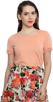 Van Heusen Casual Short Sleeve Solid Women's Orange Top
