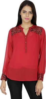 French Creations Casual Full Sleeve Solid Women's Red Top