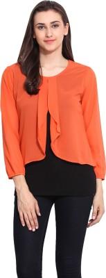 Mystree Casual 3/4 Sleeve Solid Women's Orange, Black Top