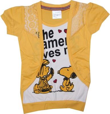 Kidsmasthi Casual Puff Sleeve Printed Girl's Yellow Top