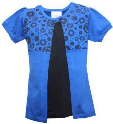 Kidsmasthi Casual Puff Sleeve Solid Girl's Blue Top