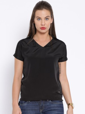 Harvard Casual Short Sleeve Solid Women's Black Top