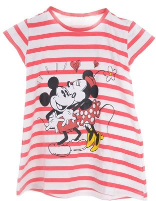 Joy N Fun Casual Short Sleeve Striped Girl's Red, White Top