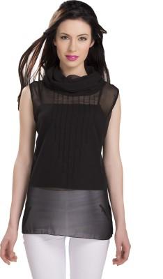 Ishindesignerstudio Party Sleeveless Solid Women's Black Top