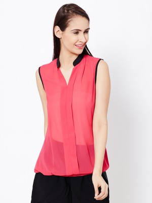 The Vanca Casual Sleeveless Solid Women's Pink Top at flipkart