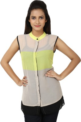 Whistle Casual Sleeveless Solid Women's Grey, Green Top