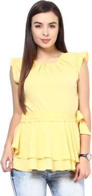 L'Elegantae Casual Short Sleeve Solid Women's Yellow Top at flipkart
