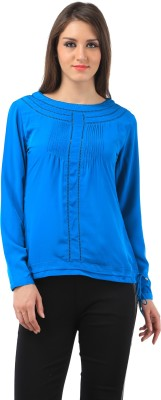 Chic Crowd Casual Full Sleeve Solid Women's Blue Top