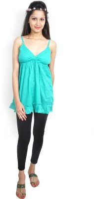 Bay & Blue Casual Sleeveless Solid Women's Light Green Top