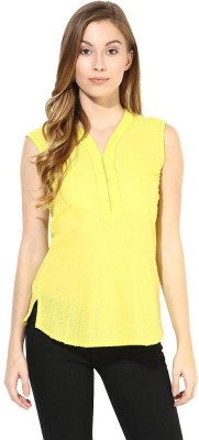 The Vanca Casual Sleeveless Self Design Women's Yellow Top at flipkart