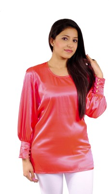 Natty India Casual Full Sleeve Solid Women's Pink Top