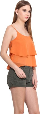 Desi Urban Casual Sleeveless Printed Women's Orange Top