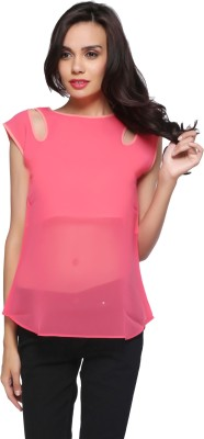Delfe Casual Sleeveless Solid Women's Pink Top