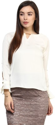 Rare Casual Bell Sleeve Solid Women,s White Top