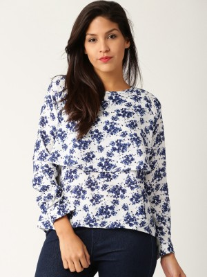 Dressberry Casual Full Sleeve Printed Women's White Top