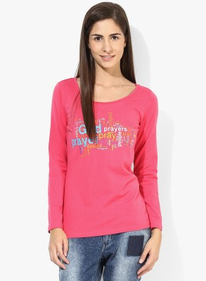 Tshirt Company Casual Full Sleeve Graphic Print Women's Pink Top