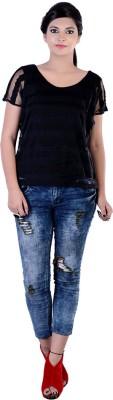 Divaz Fashion Casual, Party Short Sleeve Self Design Women's Black Top