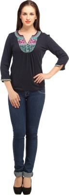 My Addiction Casual 3/4 Sleeve Embroidered Women's Blue Top