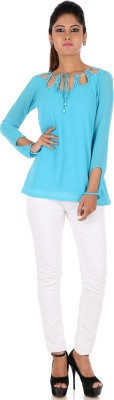 R Factor Casual Full Sleeve Embellished Women's Blue Top