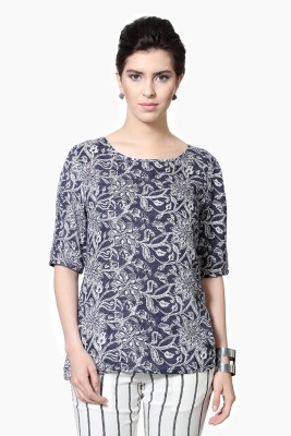 Van Heusen Casual 3/4 Sleeve Printed Women's Blue Top