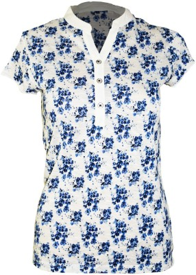 Groviano Casual Short Sleeve Floral Print Women's White, Blue Top