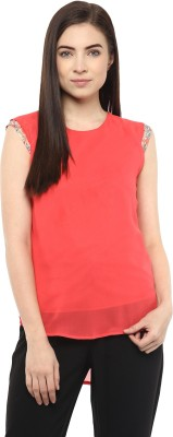 Moderno Casual Sleeveless Solid Women's Orange Top