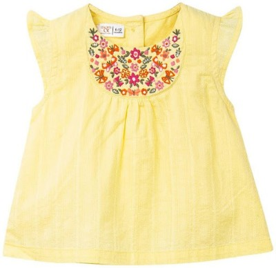 Mom & Me Casual Short Sleeve Embroidered Girl's Yellow Top