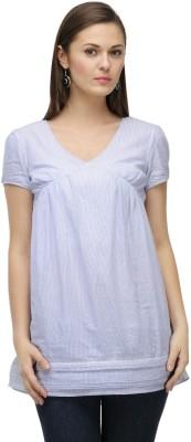 ColorsCo Casual Short Sleeve Striped Women's Blue, White Top