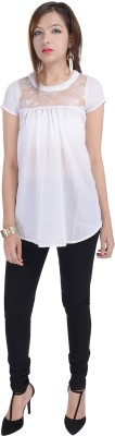 Fantasy Ika Casual Short Sleeve Solid Women's White Top