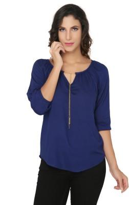 Philigree Casual 3/4 Sleeve Solid Women,s Dark Blue Top