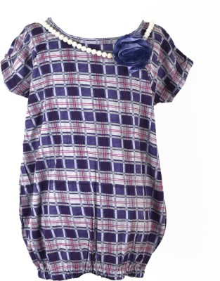 MARSHMALLOW Party Short Sleeve Checkered Girl's Purple Top