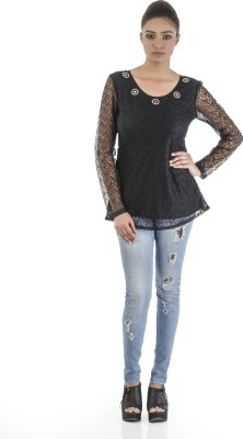 Vastra Valley Casual Full Sleeve Embroidered Girl's Black Top