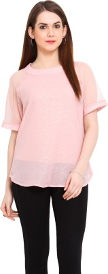 Ridress Casual Short Sleeve Solid Women's Pink Top