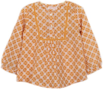 My Little Lambs Casual 3/4 Sleeve Printed Girl's Yellow Top