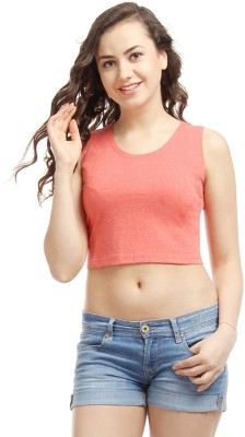 Campus Sutra Casual Sleeveless Solid Women's Orange Top