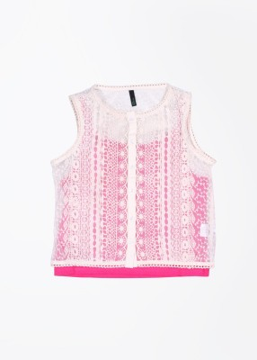 United Colors of Benetton Casual Sleeveless Self Design Girl's White, Pink Top