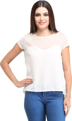 Amirich Casual Short Sleeve Solid Women's White Top