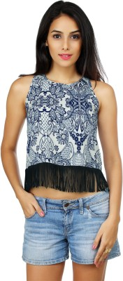 20Dresses Casual Sleeveless Floral Print Women's Blue, White Top