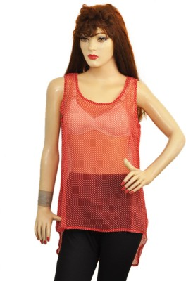 Younky Casual Sleeveless Polka Print Women's Red, White Top