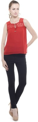 A Luv Ya Casual Sleeveless Solid Women's Red Top