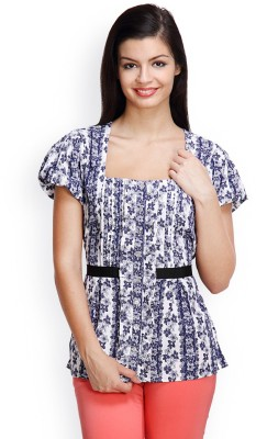 Famous by Payal Kapoor Casual Short Sleeve Floral Print Women's White, Blue Top