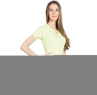 My Addiction Casual Short Sleeve Solid Women's Yellow Top