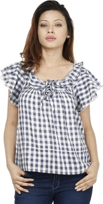 Miway Casual Butterfly Sleeve Checkered Women's Blue, White Top