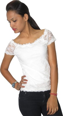 Modo Vivendi Casual Short Sleeve Solid Women's White Top