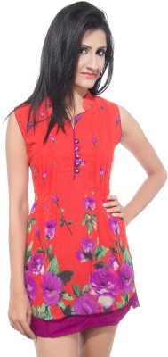 Simran Creation Casual Sleeveless Floral Print Women's Multicolor Top