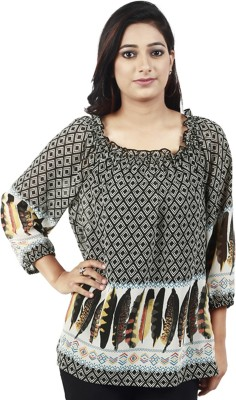 Maggie Casual, Festive, Lounge Wear 3/4 Sleeve Printed Women's Black, Multicolor Top